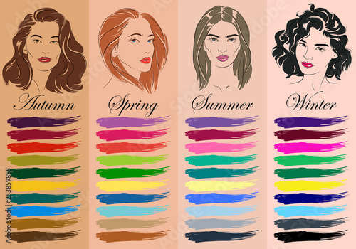 Seasonal color analysis. Set of vector hand drawn girls with different types of female appearance. Best colors for Autumn, Spring, Summer, Winter