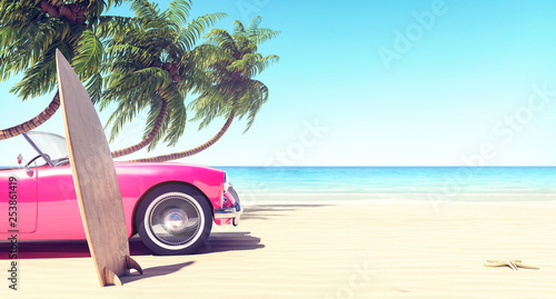 Pink car on the beach in front of palm trees, summer background 3D Rendering
