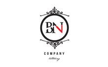 BN B N Red White Black Decorative Monogram Alphabet Letter Logo Combination Icon Design