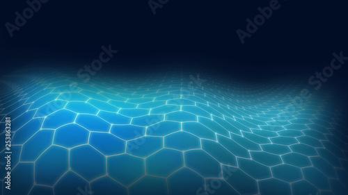 Photo  3D blue landscape futuristic hexagon, technology concept, big data