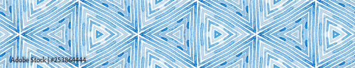 Fototapety, obrazy: Blue Seamless Border Scroll. Geometric Watercolor