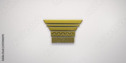Foto  Gold Capital Column.3D Render Illustration