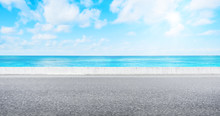 Empty Asphalt Road With Sea And Sky For Mockup