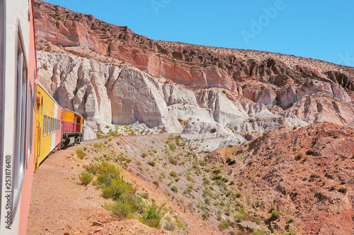 Foto op Plexiglas Zalm So called Train to the clouds goes from Salta to La Polvorilla viaduct. Argentina.