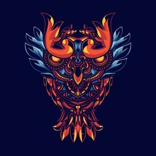 Illustration Of Owls With Mandala Ornaments. With Background Sacred Geometry. Has A Combination Of Gold And Blue Lights