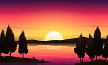 Beautiful Sunset Lake Landscap...