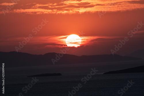 Poster Baksteen Sunset at Devil's Table ( Seytan Sofrasi ), Ayvalik, Balikesir, Turkey