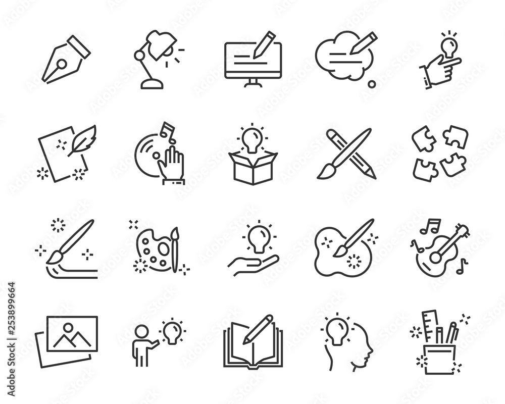 Fototapety, obrazy: set of creative icons , such as thinking, drawing, work, education