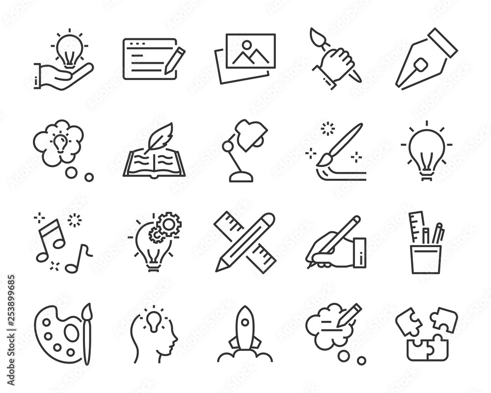Fototapeta set of creative icons , such as thinking, drawing, work, education