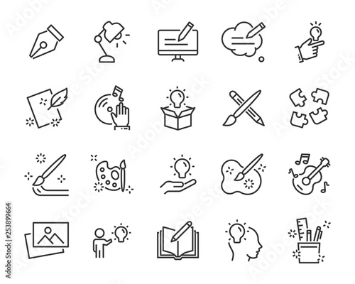 Obraz set of creative icons , such as thinking, drawing, work, education - fototapety do salonu