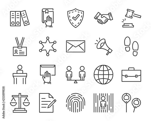 set of justice icons, such as law, lawyer, work, legal, secure Wallpaper Mural
