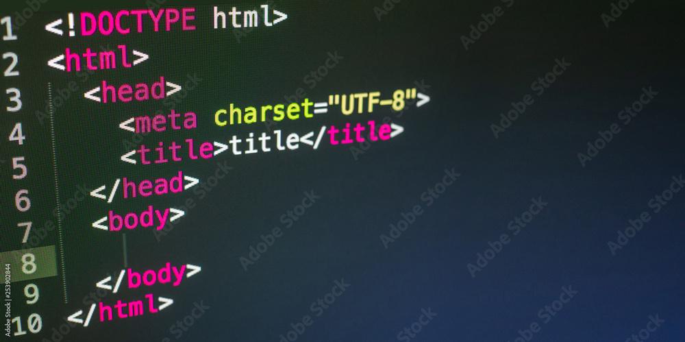 Fototapety, obrazy: HTML code close up