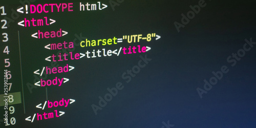 Valokuvatapetti HTML code close up