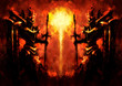 canvas print picture - Knights watchmen on the background of the infernal sun