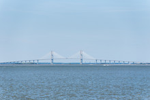 A Large Bridge Spans  A Deep W...