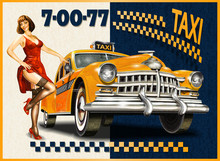 Taxi Card With Pin-up Girl And Retro Yellow Taxi.