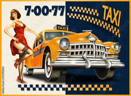 Leinwand Poster Taxi card with Pin-up girl and retro yellow taxi.