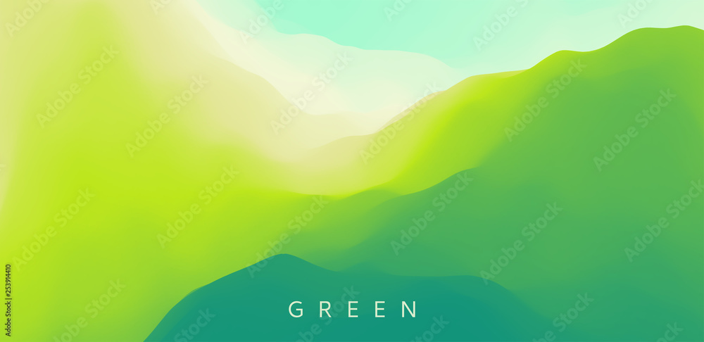 Fototapety, obrazy: Landscape with green mountains. Mountainous terrain. Abstract nature background. Vector illustration.