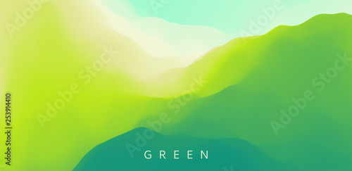 Deurstickers Lime groen Landscape with green mountains. Mountainous terrain. Abstract nature background. Vector illustration.