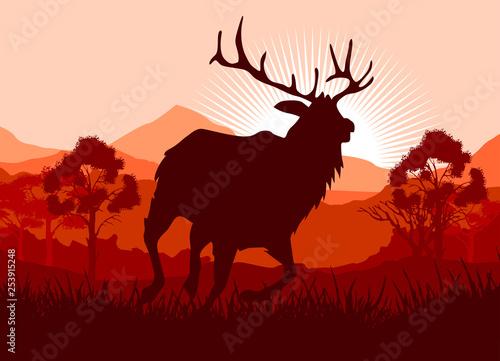 Garden Poster Brown Deer in wild nature landscape illustration