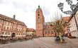 canvas print picture - Historisches Rathaus  und Stiftskirche am Marktplatz Neustadt an der Weinstraße Rheinland-Pfalz