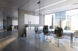 Leinwandbild Motiv Glass Office Room Wall Mockup - 3d rendering
