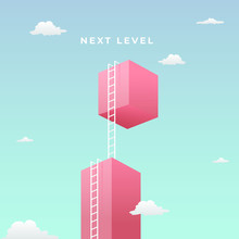 Next Level To Success Visual Concept Design. Double Step Climb The High Giant Wall Towards The Sky With Tall Ladder Vector Illustration.