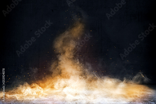 Wall Murals Smoke Room with concrete floor and smoke with fire sparks