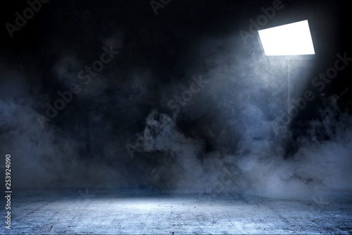 Poster Fumee Room with concrete floor and smoke with light from spotlights