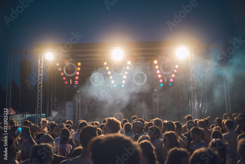 BAD AIBLING, GERMANY: Crowd in a concert with a stage in the background Mai 31, 2017 - 253925222