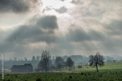 In de dag Temple Flemish Landscape in Winter