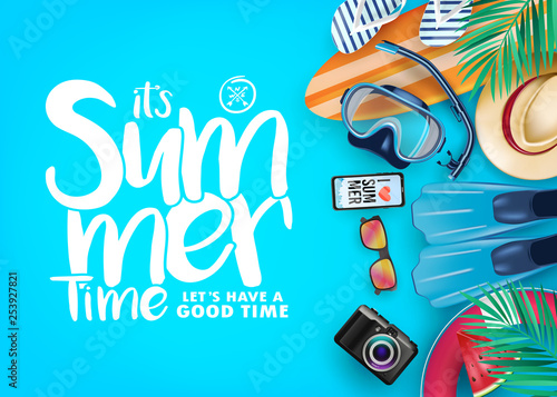 Foto auf Gartenposter Turkis Top View Summer Time Realistic Vector Banner in Blue Background and Tropical Elements Like Scuba Diving Equipment, Surf Board, Slippers, Digital Camera, Mobile Phone, Hat, Palm Leaves and Sunglasses.
