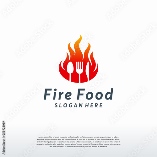 Fire Food Logo Template Hot Food Logo Designs Concept