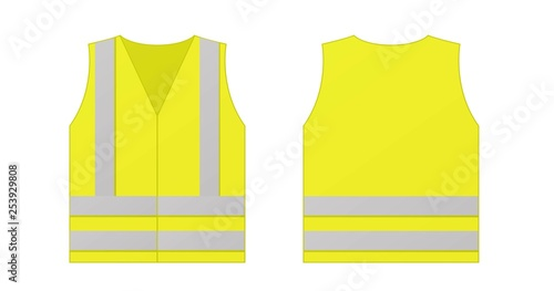 Fotografía  Yellow reflective safety vest for people isolated on white background