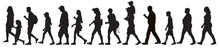 Silhouettes Of Moving People (crowd), Isolated. Set, Vector Illustration.