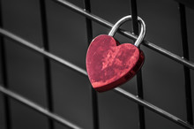 Closeup Of Love Padlock On Metallic Fence On Blurred Water Background