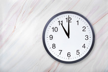 Wall Clock Show Eleven O'clock On Marble Texture. Office Clock Show 11pm Or 11am On Marble Texture With Natural Pattern