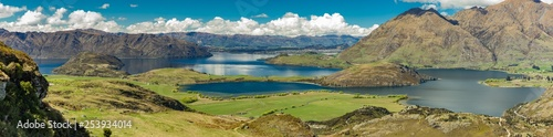 Rocky Mountain and Diamond Lake in the Mt Aspiring National Park, Wanaka, New Ze Wallpaper Mural