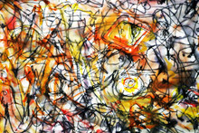 Sketch In The Style Of Abstract Expressionism. Abstract Background In Brown Yellow And Red Tones. Jackson Pollock Imitation.