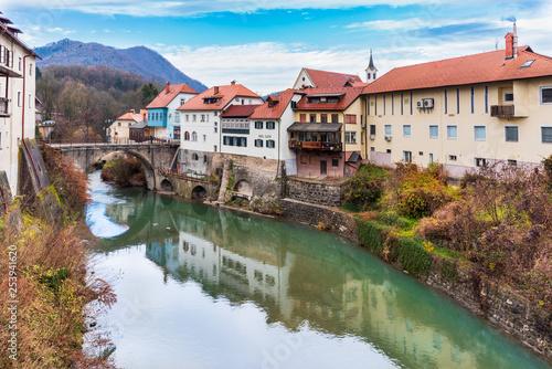 Foto auf Leinwand Olivgrun The ancient village of Škofja Loka, Slovenia.