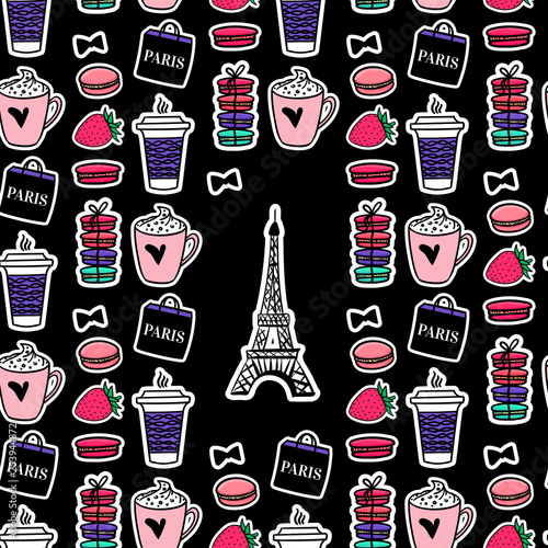 Eiffel Tower with coffee and macaroons Wallpaper Mural