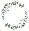 canvas print picture - Eucalyptus wreath in circle frame composition