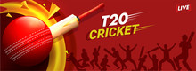 Live T20 Cricket Header Or Banner Design With Illustration Of Cricket Ball, Bat And Silhouette Of Cricket Players In Different Playing Pose.