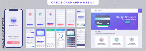 Online Payment or Credit cards app ui kit for responsive mobile app with website menu like as, credit cards uploading, saving, checking accounts and transaction confirmation Canvas Print