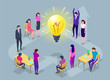 People work in a team and achieve the goal. Isometric vector illustration.