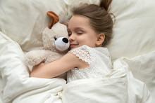 Cute Little Kid Girl Hugging T...