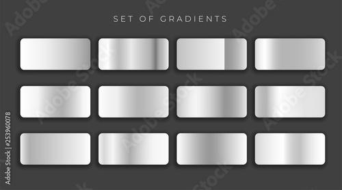 gilver metallic gray gradients set Wallpaper Mural