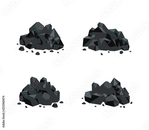 Cuadros en Lienzo Vector illustration set of various piles of black coal isolated on white background