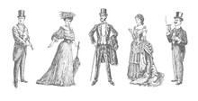 Ladies And Gentlemen. Man And Woman Figure Collection. Victorian Clothing. Vintage Hand Drawn Set. Retro Illustration In Ancient Engraving Style