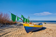 Fishing boats stand in the beach, Baltic Sea, Jantar resort, Poland